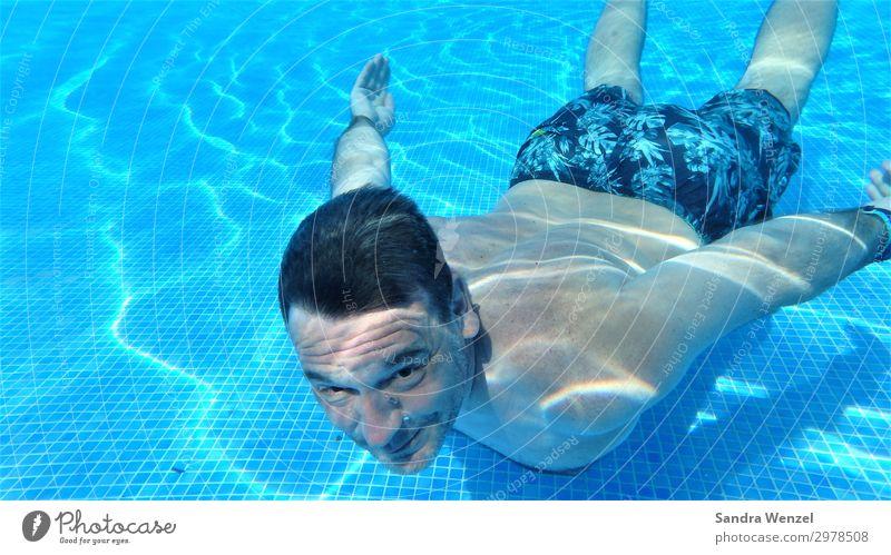 Tauchen im Pool Gesunde Ernährung sportlich Fitness Erholung Schwimmen & Baden Freizeit & Hobby Sommer Sommerurlaub Schwimmbad maskulin Mann Erwachsene Körper 1