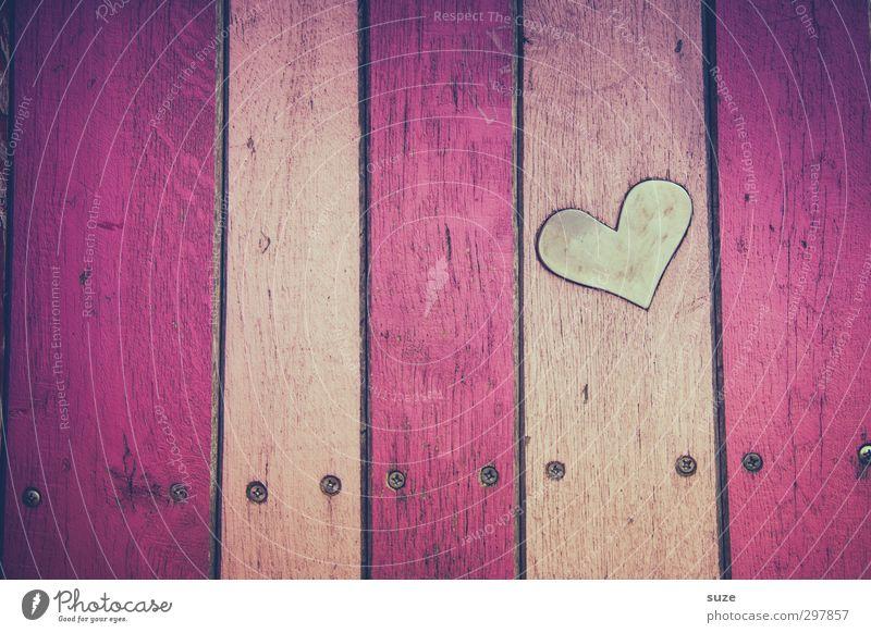 Liebe für's Detail   Herz gefunden Lifestyle Design Dekoration & Verzierung Muttertag Mauer Wand Fassade Holz Zeichen Streifen klein niedlich trashig rosa