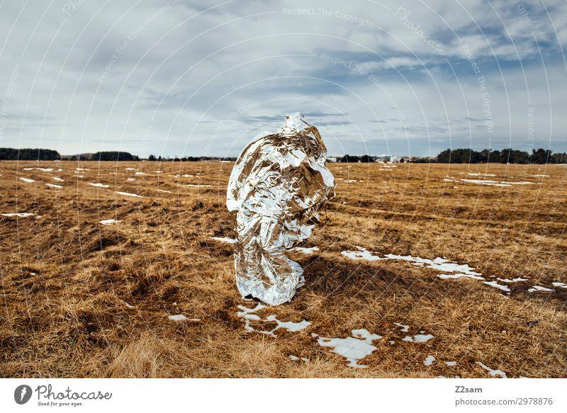 THE OTHERS Technik & Technologie Fortschritt Zukunft High-Tech Umwelt Natur Landschaft Himmel Wolken Herbst Schönes Wetter Heide stehen silber Design innovativ