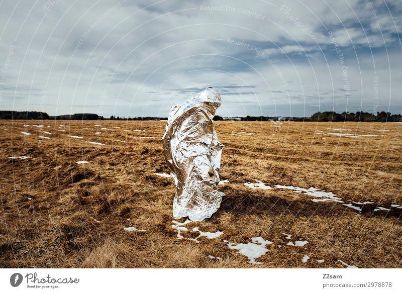 THE OTHER Technik & Technologie Fortschritt Zukunft High-Tech Natur Landschaft Wolken Herbst Wiese außergewöhnlich silber bizarr Endzeitstimmung bedrohlich