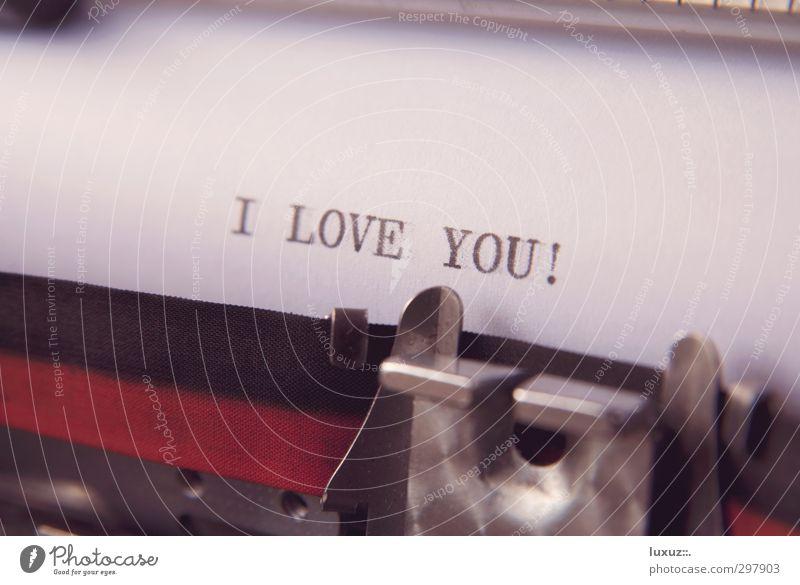 Liebesbrief Schriftzeichen Papier retro Zeichen schreiben Sehnsucht Schriftstück Verliebtheit Zettel Liebeskummer Zuneigung Mitteilung Schreibmaschine