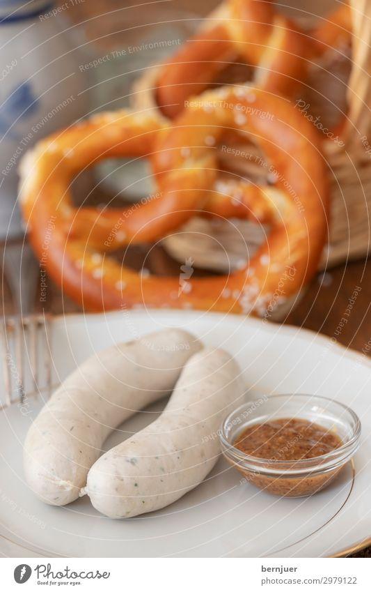 Weißwürste Fleisch Wurstwaren Frühstück Gabel Holz frisch lecker nah weiß Tradition Weißwurst süß Senf Silber Bayern Kalb Deutsch Essen Schweinefleisch