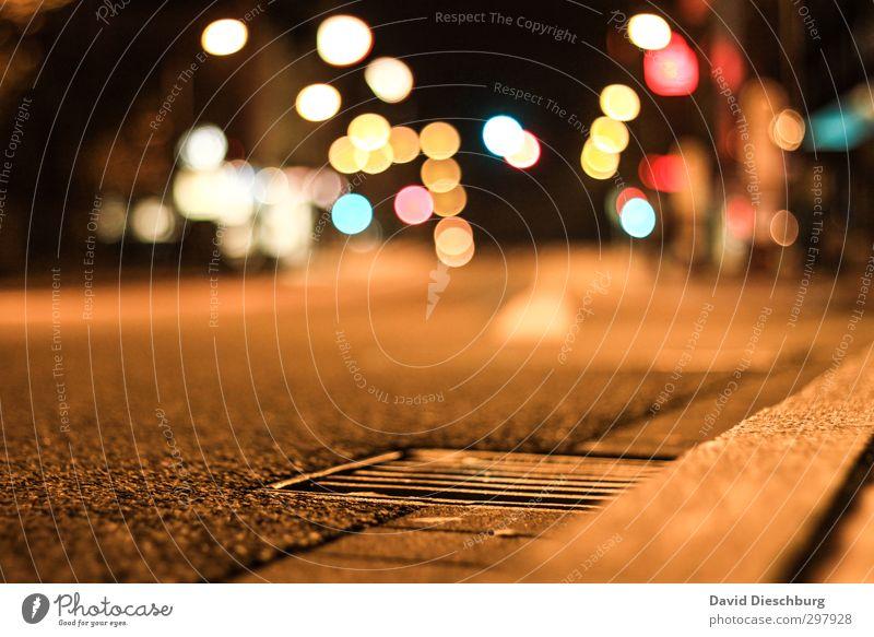 Nightlights Stadt Stadtzentrum Verkehr Straßenverkehr Autofahren Busfahren Wege & Pfade Ampel blau braun gelb orange schwarz weiß kreisen Langzeitbelichtung