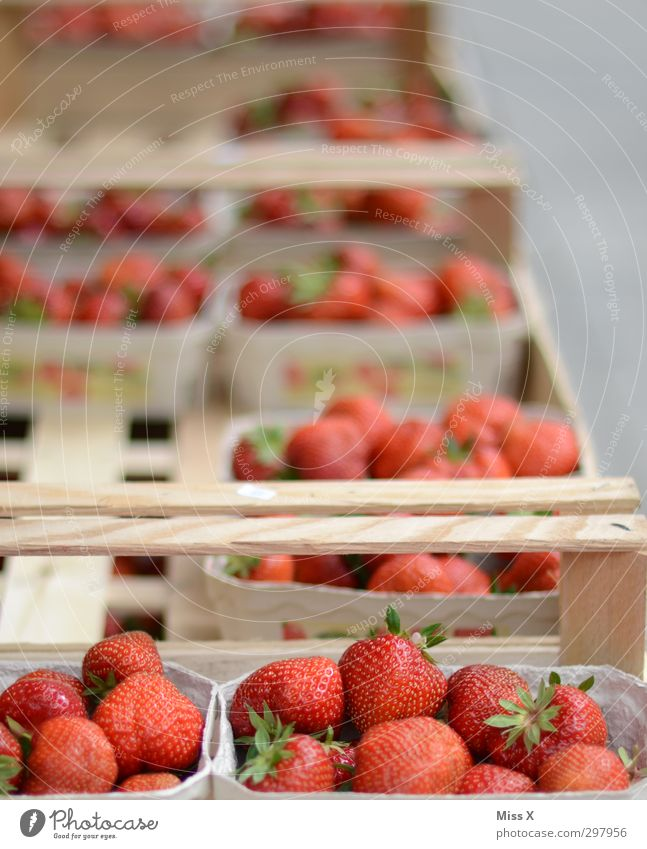 Erdbeeren rot Gesundheit Lebensmittel Frucht frisch Ernährung süß Ernte lecker reif Bioprodukte Beeren saftig verkaufen Buden u. Stände