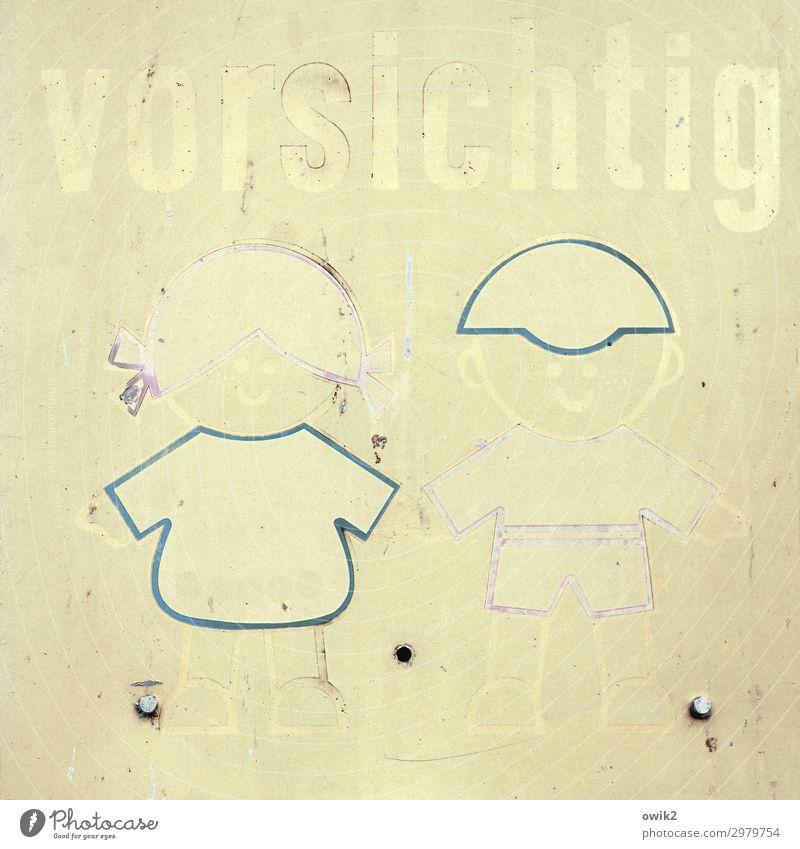 Inkognito Zeichen Schriftzeichen Schilder & Markierungen Hinweisschild Warnschild Figur Kind Junge Mädchen gelb Verantwortung achtsam Wachsamkeit Vorsicht