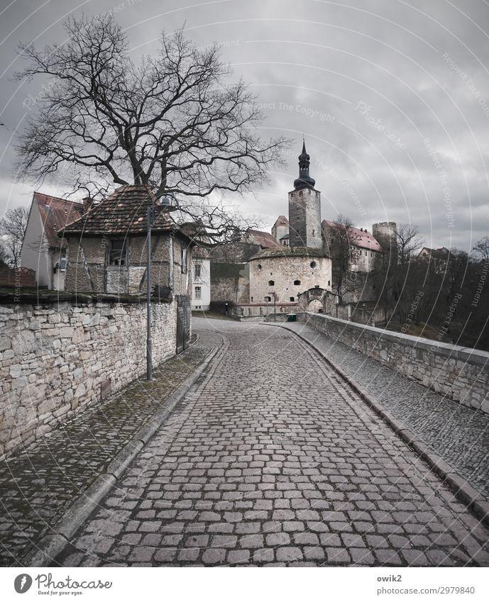 Querfurt Sachsen-Anhalt Deutschland Kleinstadt Stadtzentrum Altstadt bevölkert Haus Burg oder Schloss Mauer Wand Fassade Straße historisch Kopfsteinpflaster