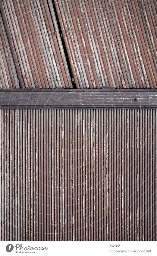 Holzverpackt Rollo alt braun Verfall Vergangenheit Vergänglichkeit Schaden Zahn der Zeit Farbfoto Gedeckte Farben Außenaufnahme Nahaufnahme Detailaufnahme