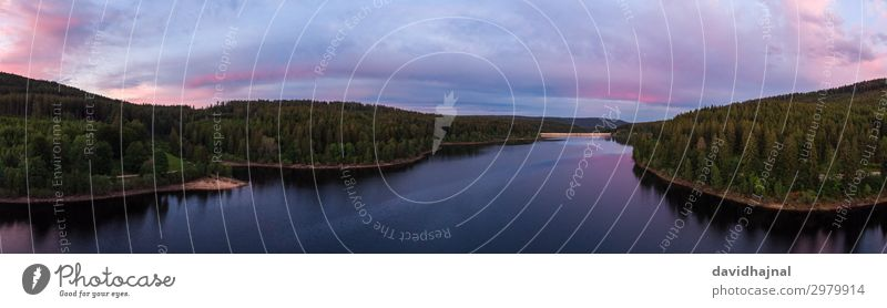 Schwarzenbachtalsperre Drohne Technik & Technologie High-Tech Luftverkehr Umwelt Natur Landschaft Wasser Himmel Wolken Horizont Sommer Schönes Wetter Baum Wald