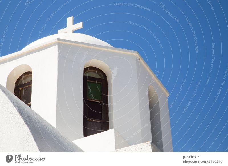 Weiß und Blau Ferien & Urlaub & Reisen Sommer Himmel Menschenleer Kirche Bauwerk Gebäude Architektur Mauer Wand Fassade Fenster Dach Sehenswürdigkeit