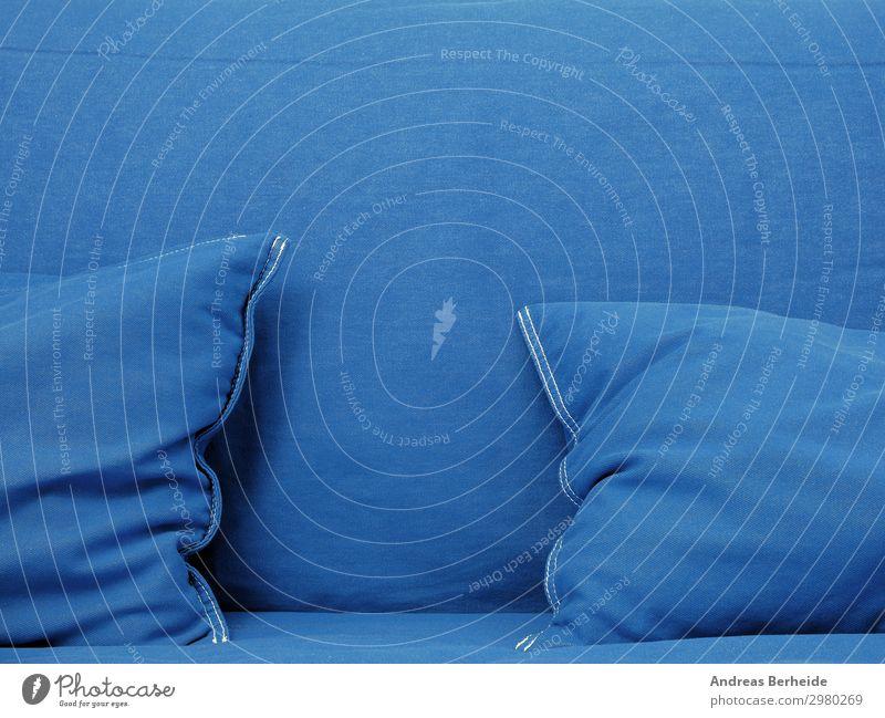 Mach blau Stil Innenarchitektur Dekoration & Verzierung Möbel Sofa einfach elegant trendy maritim weich pillow blue velvet fabric Hintergrundbild texture