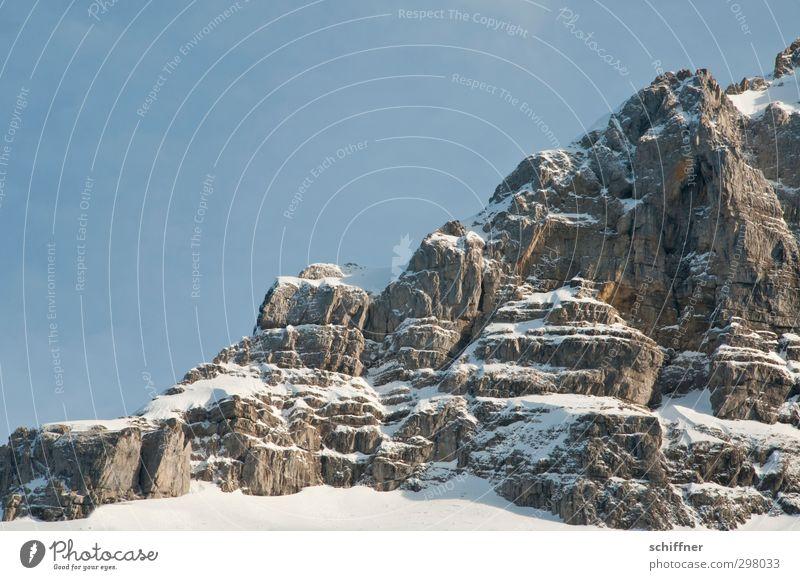 Massiv schön Umwelt Natur Landschaft Urelemente Himmel Wolkenloser Himmel Sonnenlicht Winter Schönes Wetter Eis Frost Schnee Felsen Alpen Berge u. Gebirge