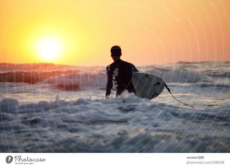 Goin' In II Kunst ästhetisch Zufriedenheit Surfen Surfer Surfbrett Surfschule Sonnenuntergang Wellen Wellengang Wellenschlag Abenteuer Extremsport Mann Meer