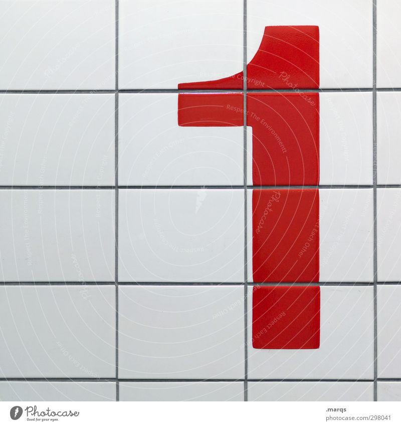 1 weiß rot Wand Mauer Erfolg einfach Sauberkeit Ziffern & Zahlen Zeichen Fliesen u. Kacheln erste