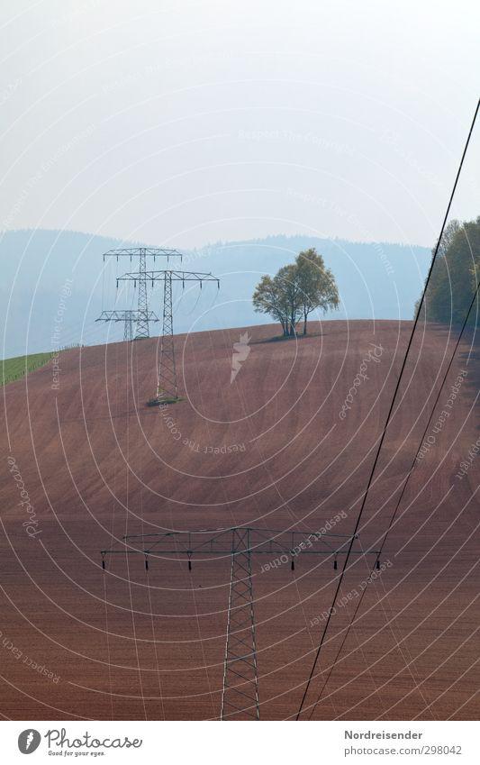 Welt am Draht Baum Landschaft Berge u. Gebirge Feld authentisch Energiewirtschaft Ordnung modern Elektrizität Technik & Technologie Netzwerk Landwirtschaft