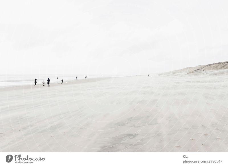 am strand Mensch Himmel Ferien & Urlaub & Reisen Natur Wasser Landschaft Meer ruhig Ferne Strand Umwelt Wege & Pfade Tourismus Freiheit Menschengruppe Sand