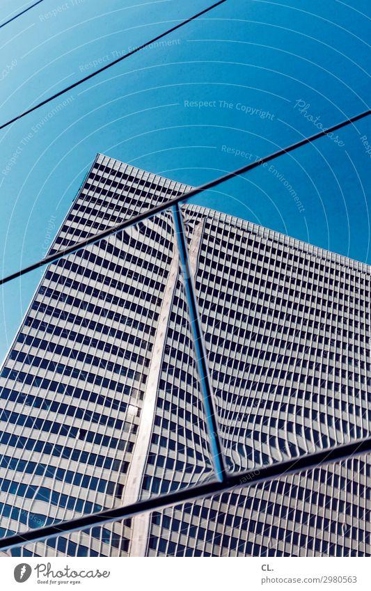 spiegelkabinett Himmel Wolkenloser Himmel Schönes Wetter Düsseldorf Stadt Stadtzentrum Menschenleer Hochhaus Bauwerk Gebäude Architektur Fassade