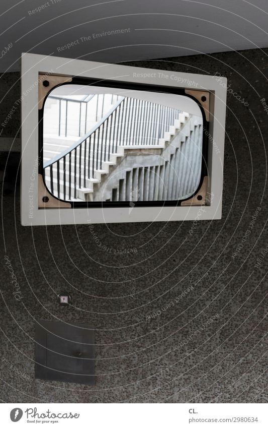 treppe im spiegel Mauer Wand Treppe Wege & Pfade Spiegel Treppengeländer komplex Perspektive Sicherheit Irritation Farbfoto Außenaufnahme Menschenleer