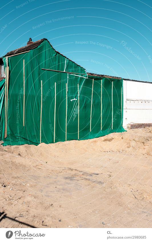 schaustelle baustelle Hausbau Arbeit & Erwerbstätigkeit Arbeitsplatz Baustelle Sand Himmel Wolkenloser Himmel Schönes Wetter Gebäude Architektur Mauer Wand