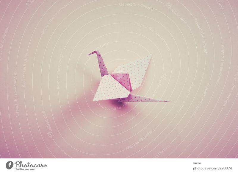 Kleiner Falter schön Tier klein hell Kunst Vogel rosa fliegen Freizeit & Hobby Design Dekoration & Verzierung ästhetisch niedlich einfach Papier Kreativität