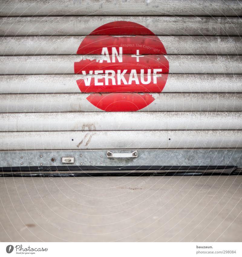 ut köln | ehrenfeld | an+verkauf. alt rot grau Gebäude Metall Linie Arbeit & Erwerbstätigkeit Fassade dreckig Schilder & Markierungen Lifestyle Beton Schriftzeichen kaufen Streifen Zeichen
