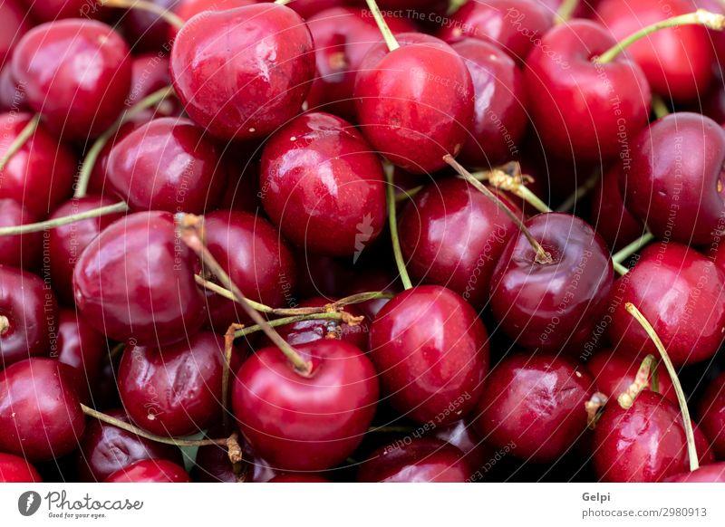 Hintergrund Süßkirschen Frucht Dessert Sommer Garten Industrie Natur Frühling Blatt glänzend frisch reich saftig sauer rot Farbe Kirsche Lebensmittel