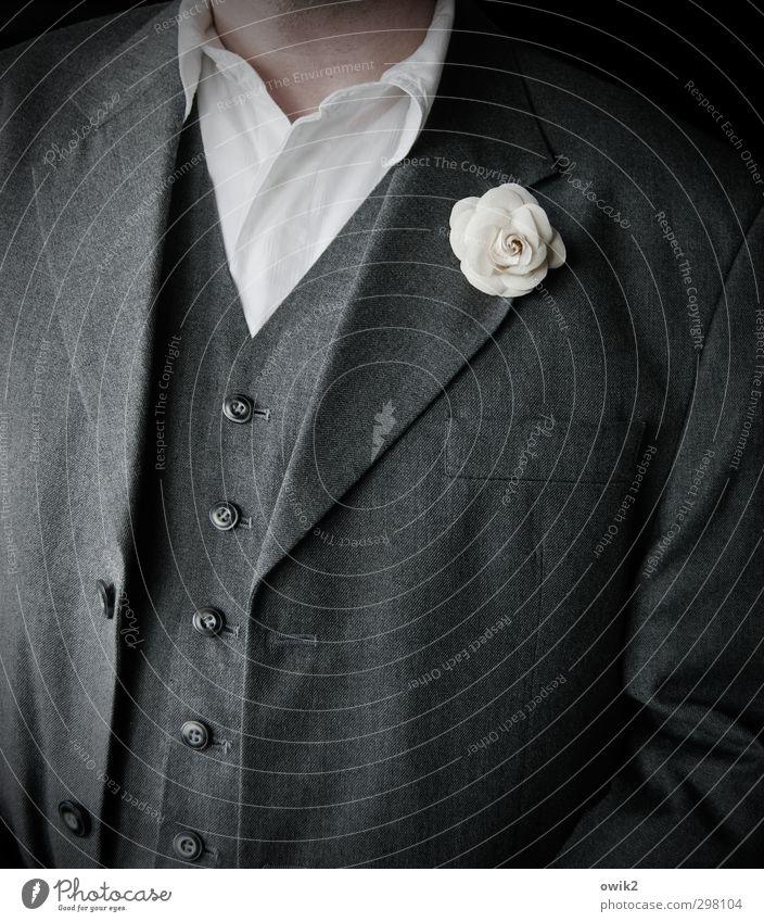 Feiertag Stil maskulin Mann Erwachsene Brust 1 Mensch 45-60 Jahre Mode Bekleidung Anzug Jacke Weste Hemd Hemdkragen Knöpfe geschlossen offen Kunstblume elegant