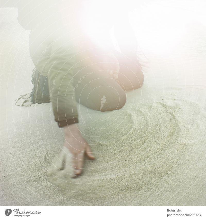 Wisch You Were Here Mensch Hand Sonne Meer Strand Liebe feminin Bewegung Traurigkeit Küste Sand Insel Schönes Wetter Finger Reinigen streichen