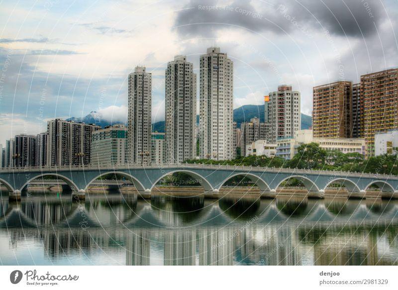Hong Kong Hochhaus Brücke Wasser Ferien & Urlaub & Reisen Stadt Asien Spiegelung Hochhäuser Kulisse Außenaufnahme Menschenleer Reflexion & Spiegelung
