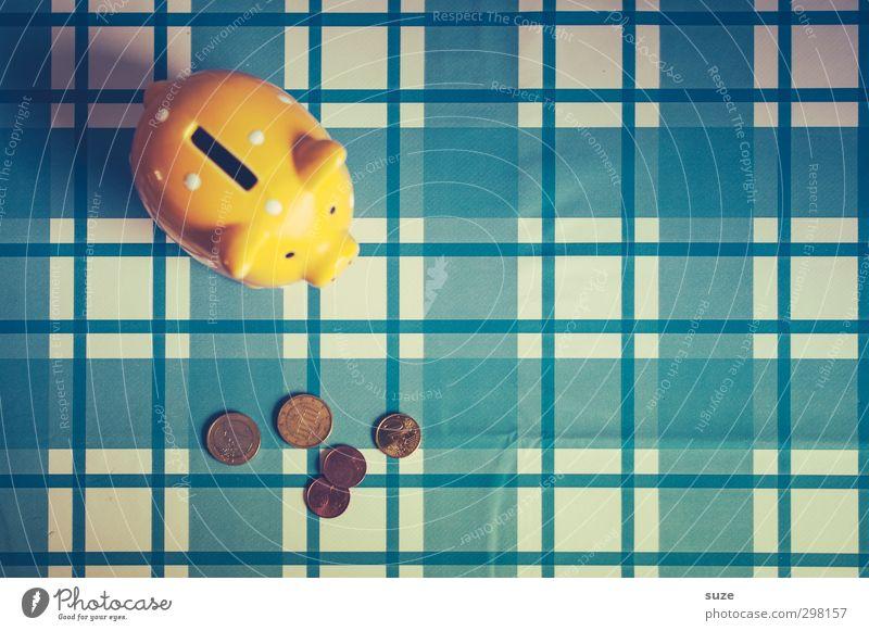 Kleingeld-Bulimie blau gelb lustig Glück klein Armut Design Lifestyle Dekoration & Verzierung kaufen niedlich Geld Kunststoff Kitsch reich kariert