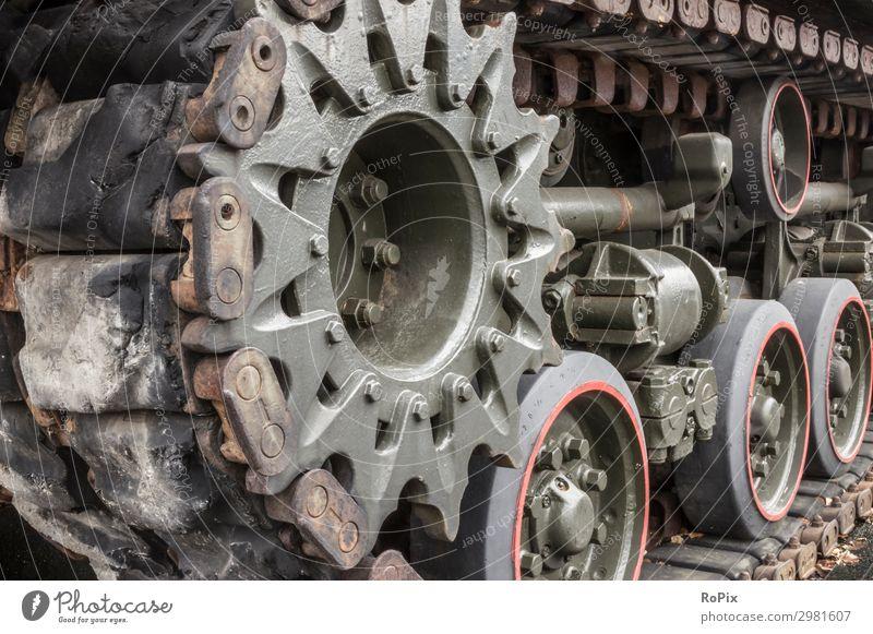 Detail des Aterpillar-Antriebs eines Tanks. Arbeitsplatz Industrie Handel Güterverkehr & Logistik Maschine Technik & Technologie High-Tech Umwelt Natur
