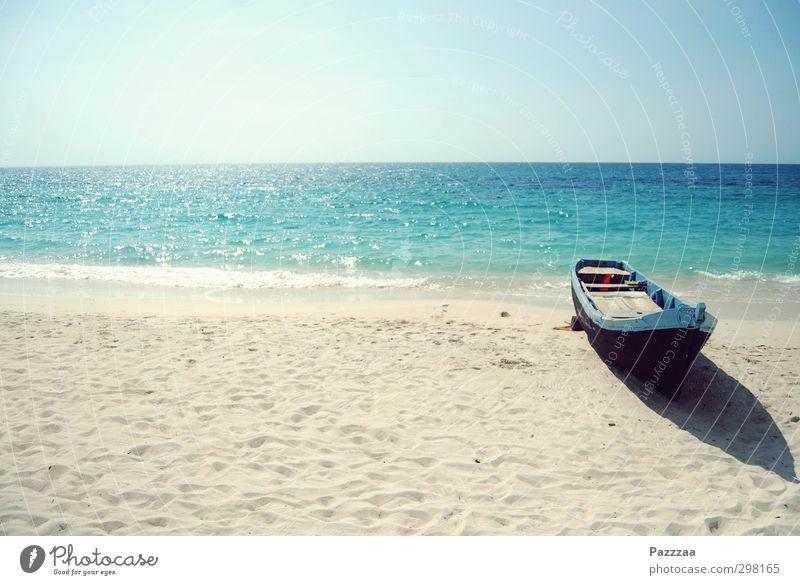 Karibikhafen Ferien & Urlaub & Reisen Sommer Sonne Meer Einsamkeit Strand Erholung Ferne Sand Horizont Insel Tourismus genießen Sonnenbad Sommerurlaub Ruderboot