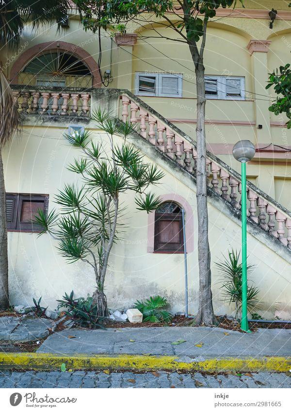 Trinidad Kuba Sommer exotisch Palme Stadt Menschenleer Haus Fassade Fenster Treppe Geländer Treppengeländer Kolonialstil Straße Bürgersteig authentisch einfach