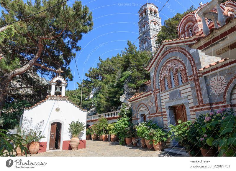 Kloster Grünpflanze Dorf Kirche Turm Bauwerk Architektur Sehenswürdigkeit Wahrzeichen Denkmal Ferien & Urlaub & Reisen Europa Griechenland Kreta
