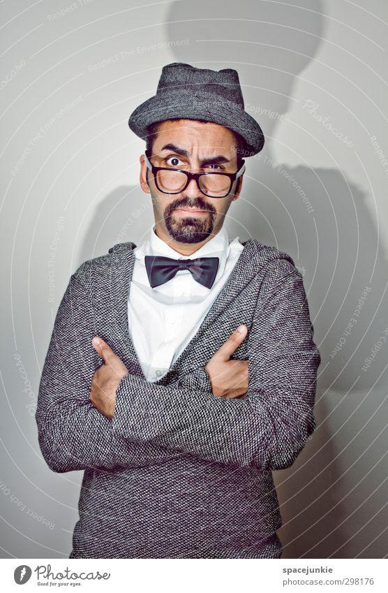 Mr Abou Mensch maskulin Junger Mann Jugendliche Erwachsene 1 18-30 Jahre Mode Hemd Pullover Hut schwarzhaarig kurzhaarig Bart Oberlippenbart Vollbart beobachten