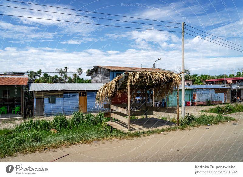 Bushaltestelle an einer Sandpiste in Peru Ferien & Urlaub & Reisen Tourismus Ausflug Abenteuer Natur Landschaft Fußgängerzone Architektur Verkehr Verkehrswege