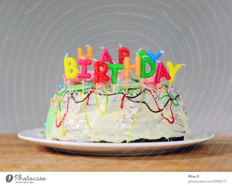 happy Lebensmittel Kuchen Schokolade Marmelade Ernährung Feste & Feiern Geburtstag lecker süß Stimmung Vorfreude Happy Birthday Kerze Torte Geburtstagstorte