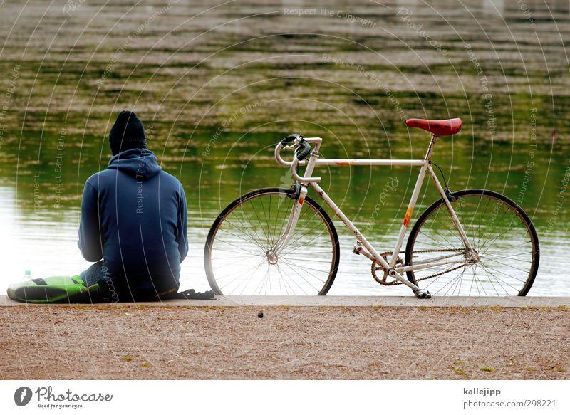 sitting on the dock of the bay Mensch maskulin 1 18-30 Jahre Jugendliche Erwachsene Fahrrad Mütze sitzen Park Seeufer Rennrad Ausflug Pause Stil ruhig Erholung