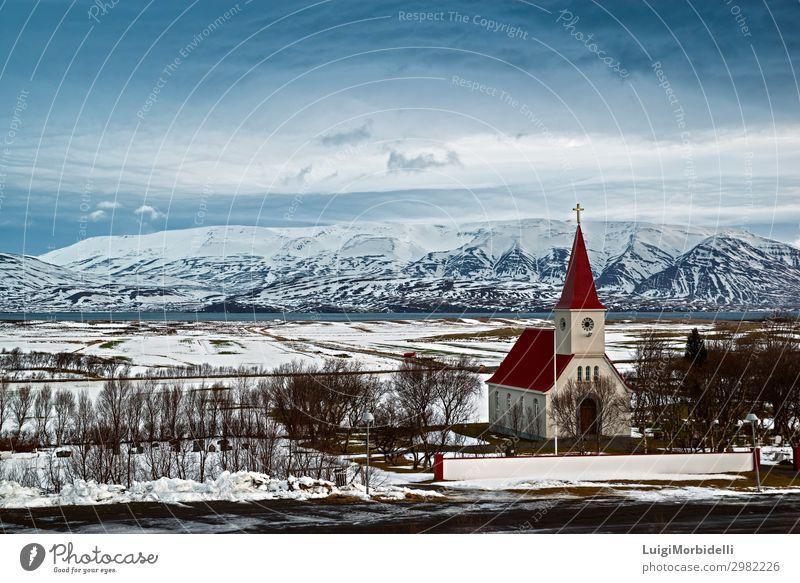 Auf dem Weg nach Dalvik, Island Ferien & Urlaub & Reisen Tourismus Ausflug Meer Insel Winter Schnee Berge u. Gebirge Natur Landschaft Himmel Wolken