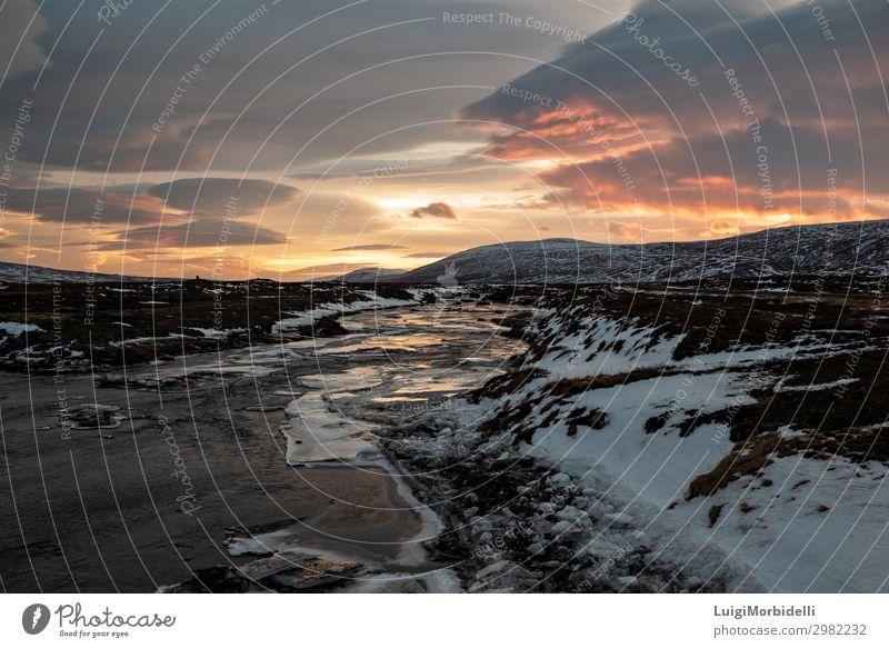 Godafoss Fluss bei Sonnenuntergang, Island Ferien & Urlaub & Reisen Tourismus Insel Winter Schnee Berge u. Gebirge Natur Landschaft Himmel Wolken Sonnenaufgang