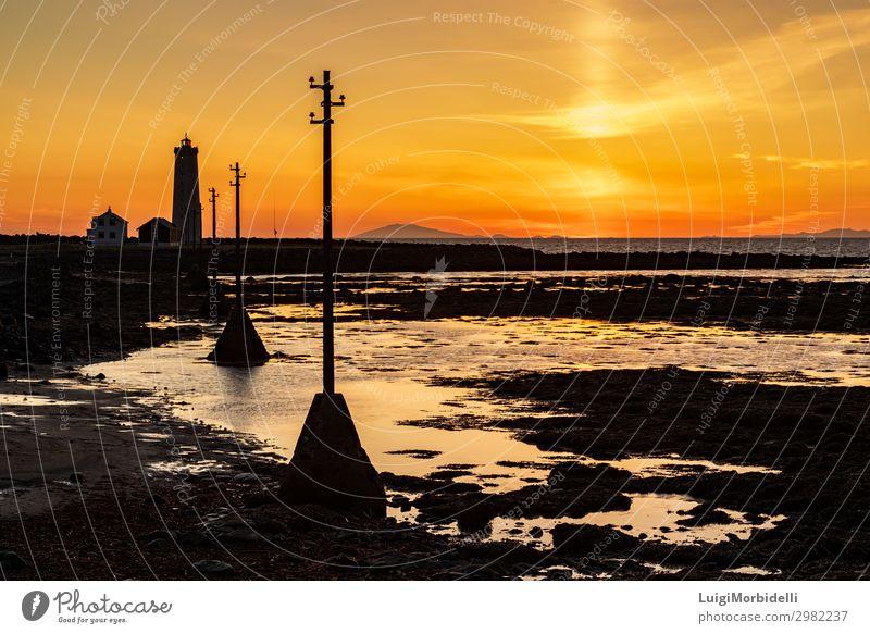 Sonnenuntergang im Leuchtturm von Seltjarnarnarnes, Island schön Sommer Strand Meer Haus Natur Landschaft Himmel Sonnenaufgang Felsen Küste Farbe seltjarnarnes