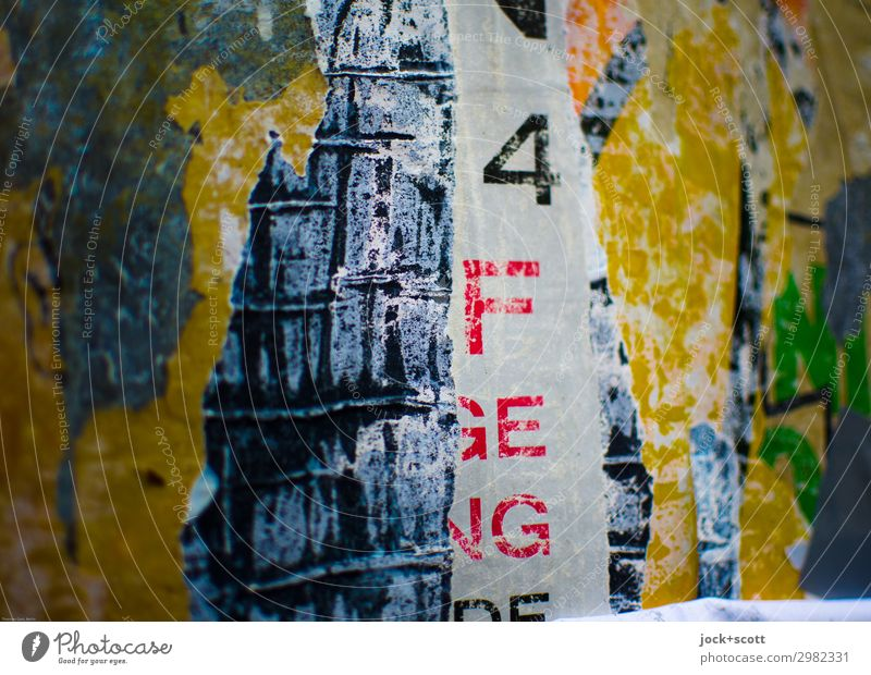 Brouillerie Plakat Dekoration & Verzierung Sammlung Schriftzeichen Ziffern & Zahlen Streifen Riss authentisch fest einzigartig nah trashig Stimmung verstört