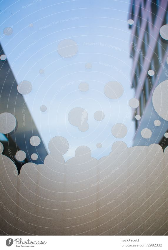 Immobilienblasen Design Wolkenloser Himmel Fassade Dekoration & Verzierung Acryl Blase Blubbern positiv viele Stimmung Euphorie durchsichtig aufsteigen Gebäude