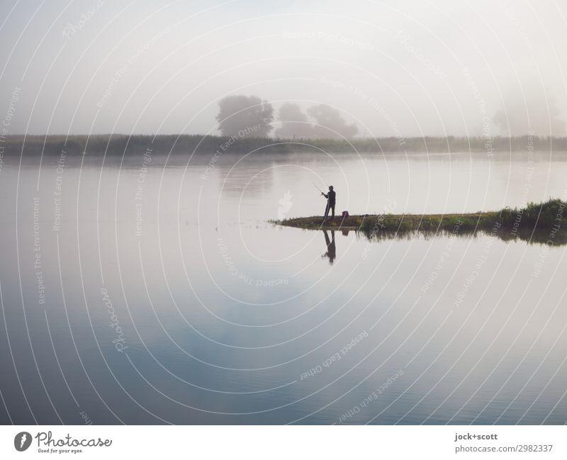 Guter Morgen an der Oder Angeln Landschaft Himmel Sommer Nebel Flussufer Brandenburg Gelassenheit Erholung Freiheit Idylle Inspiration Grenzgebiet malerisch