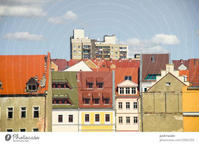 Zgorzelec Himmel Wolken Schönes Wetter Görlitz Altstadt Plattenbau Fassade Dach authentisch historisch modern Kultur Stil Verschiedenheit hervorragend
