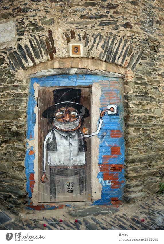 Schellemännchen maskulin Mann Erwachsene 1 Mensch Kunst Gemälde karikatur Mauer Wand Tür Klingel Eingang Graffiti beobachten festhalten lachen dunkel historisch