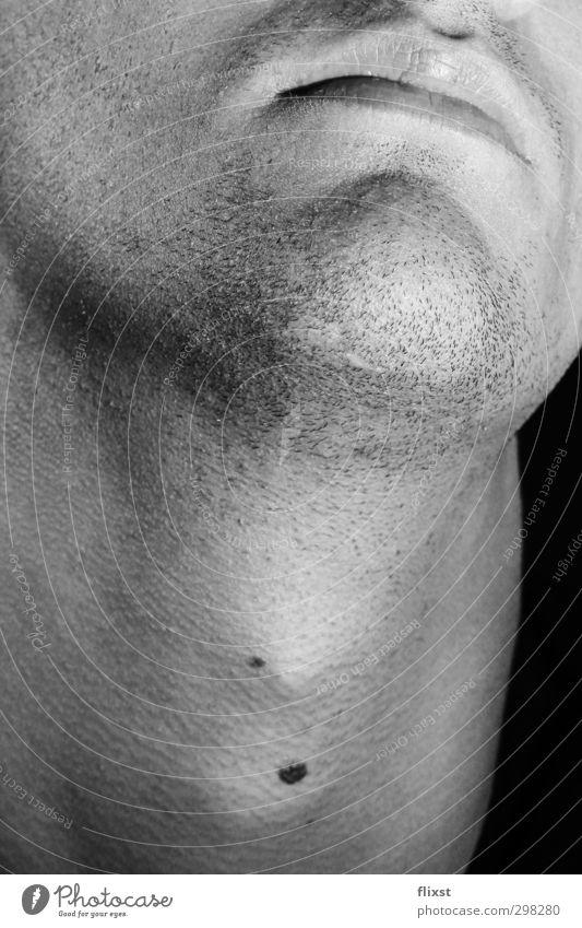 drei Tage maskulin Junger Mann Jugendliche Bart 1 Mensch 18-30 Jahre Erwachsene genießen Hals Dreitagebart Schwarzweißfoto Innenaufnahme Textfreiraum unten