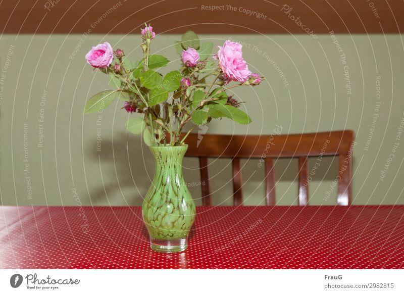 Rosenstrauß auf dem Küchentisch Blumenstrauß Damaszener-Rose alte Rose Vase mit Blumen Blüte Knospen rosa Dekoration & Verzierung Tisch Tischdecke weiße Punkte