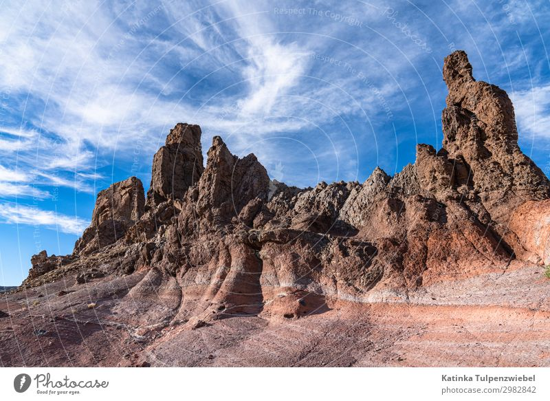Felsformationen, Roques de Garcia, Teide, Teneriffa. Umwelt Natur Landschaft Urelemente Erde Himmel Sommer Klima Park Felsen Berge u. Gebirge Gipfel Vulkan blau