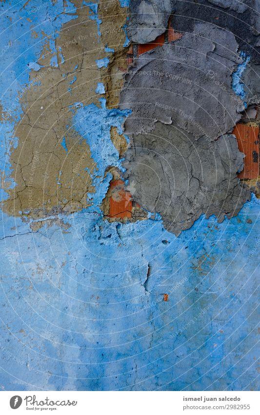 altblaue Wand gebrochen abstrakter Hintergrund texturiert Konsistenz Muster Stein kaputt Hintergrund neutral Fassade Gebäude Straße Außenaufnahme Grunge