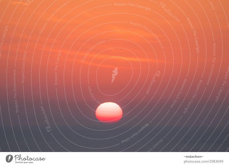 Sonnenaufgang Ferien & Urlaub & Reisen Sommerurlaub Meer orange rosa rot Morgen schön Himmel Wolken Romantik mehrfarbig Horizont Farbfoto Außenaufnahme